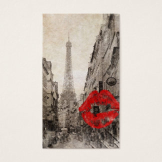Red lips Kiss Shabby chic paris eiffel tower Business Card