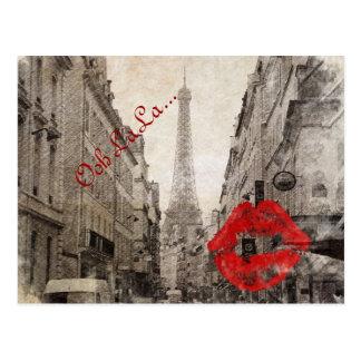 Red lips Kiss Shabby chic paris eiffel tower Postcard