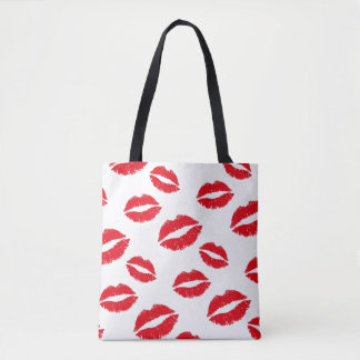Red Lips Kisses Pattern Tote Bag