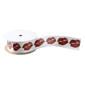 Red Lips Kisses Satin Ribbon