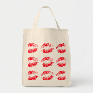 Red Lips Kissing Tote Bag