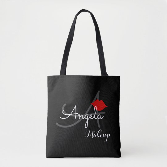 red lips . makeup artist monogram beauty black tote bag