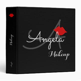 red lips . makeup artist monogram beauty vinyl binder