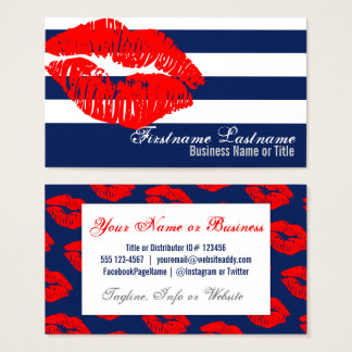 Red Lips on Blue & White Stripes Custom Bizcards Business Card