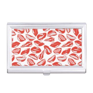 Red Lips ready to kiss Business Card Holder