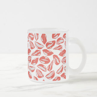Red Lips ready to kiss Frosted Glass Coffee Mug