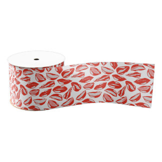 Red Lips ready to kiss Grosgrain Ribbon