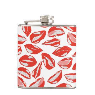Red Lips ready to kiss Hip Flask