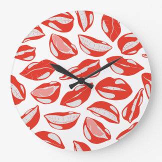 Red Lips ready to kiss Large Clock
