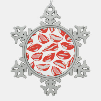 Red Lips ready to kiss Pewter Snowflake Ornament