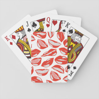 Red Lips ready to kiss Playing Cards