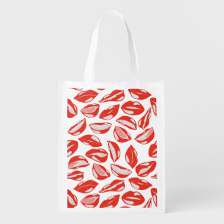 Red Lips ready to kiss Reusable Grocery Bag