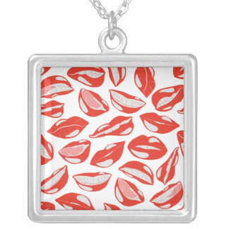 Red Lips ready to kiss Silver Plated Necklace