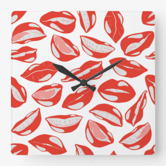 Red Lips ready to kiss Square Wall Clock