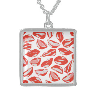 Red Lips ready to kiss Sterling Silver Necklace