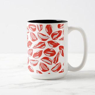 Red Lips ready to kiss Two-Tone Coffee Mug