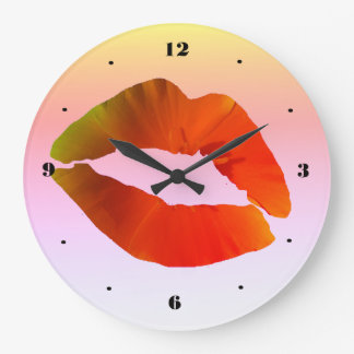 Red Lips Round (Large) Wall Clock