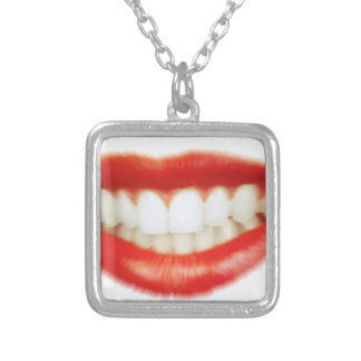 Red lips silver plated necklace