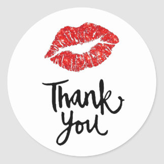 red lips thank you classic round sticker