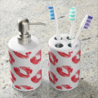 Red Lips Toothbrush Holder and Soap Dispenser Set