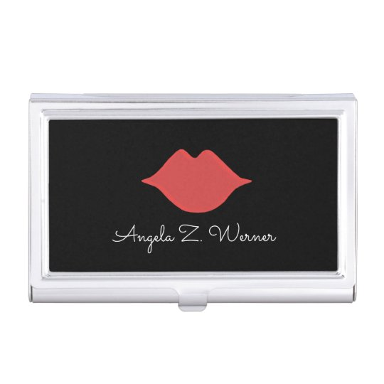 red lips with her name . woman mouth on black business card cases