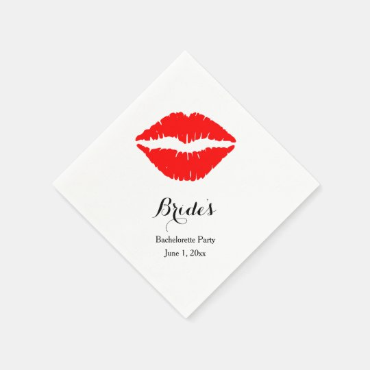 Red Lipstick Bachelorette Party Paper Napkin