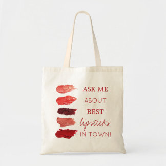 Red lipstick colors swatches ask me promotional tote bag