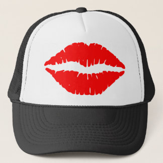 Red Lipstick Illustration Trucker Hat