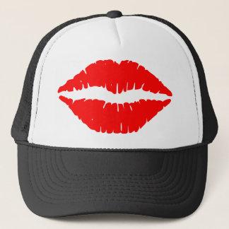 Red Lipstick Illustration Trucker Hat