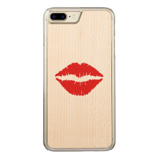 Red Lipstick Kiss Carved iPhone 8 Plus/7 Plus Case