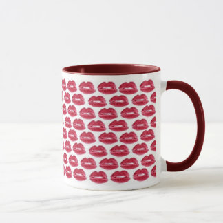 Red Lipstick Kisses Luscious Lips Coffee Mug Cup