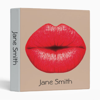 Red lipstick lips punk pop art student folder vinyl binders