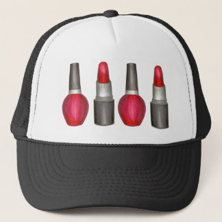 Red Lipstick Makeup Nail Polish Beauty Fashionista Trucker Hat