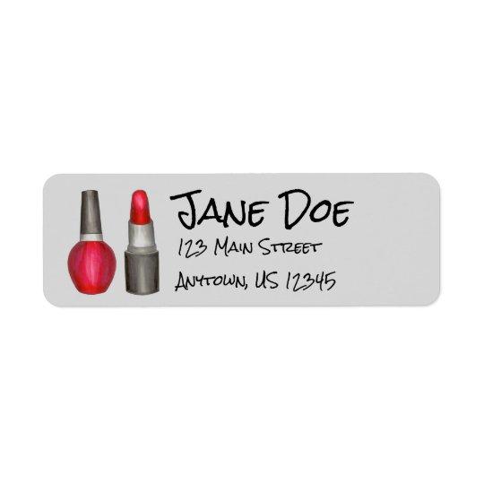 Red Lipstick Nail Polish Makeup Address Labels