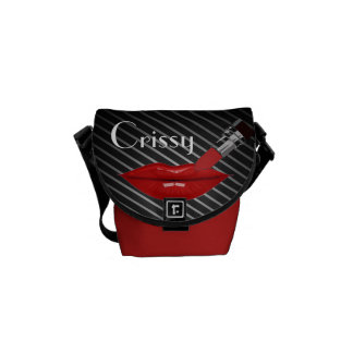 Red Lipstick/stripes  (Personalize)Rickshaw Bag Commuter Bag