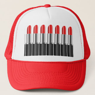 Red lipstick. trucker hat