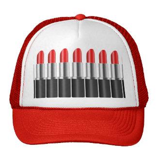 Red lipstick. trucker hat