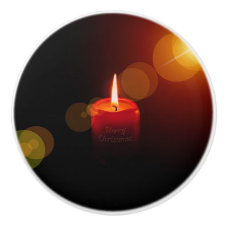 Red Lit Candle Ceramic Pull