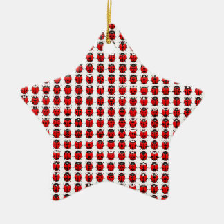 Red Little Ladybugs Ceramic Ornament