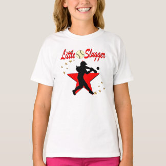RED LITTLE SLUGGER SOFTBALL GIRL DESIGN T-Shirt