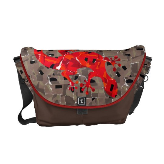 Red Lizard Collage Messenger Bags