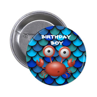 Red Lobster on Blue Birthday Child Button