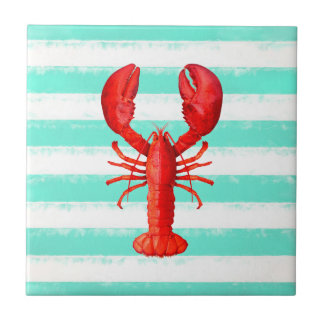 Red lobster on mint green and white stripes tile