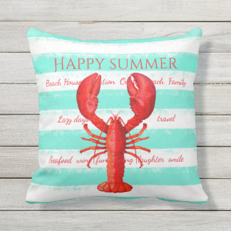 Red lobster on turquoise white nautical stripes outdoor pillow