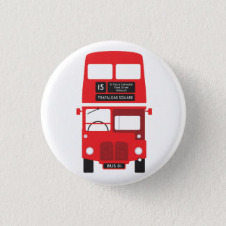 Red London Bus Badge 1 Inch Round Button