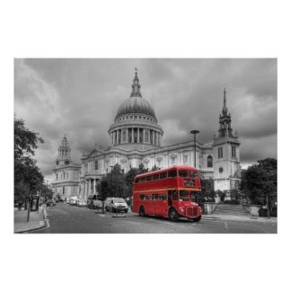 Red London bus in the City of London Poster