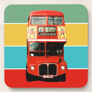 Red London Bus on Colored Stripes Coaster