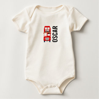 Red London Bus Organic Baby Vest Baby Bodysuit