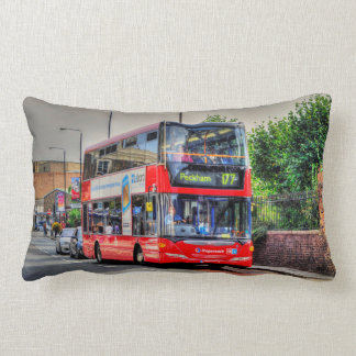 Red London Bus Street Scene Photo Artwork III Lumbar Pillow