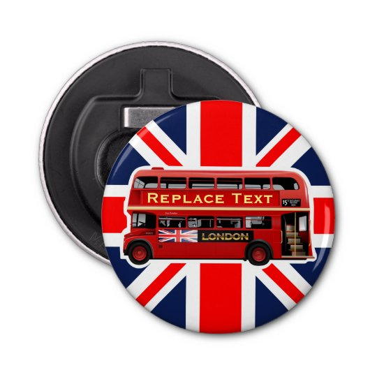 Red London Bus Themed Button Bottle Opener